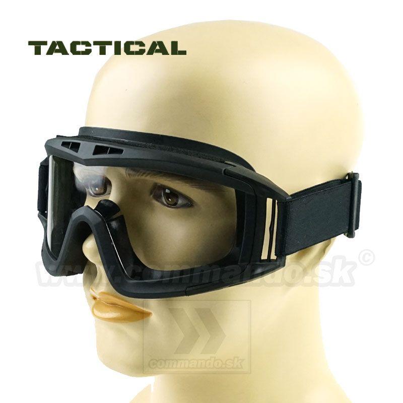 Taktické okuliare Combat X Black Glasses Clear číre  07ce8d26e0e