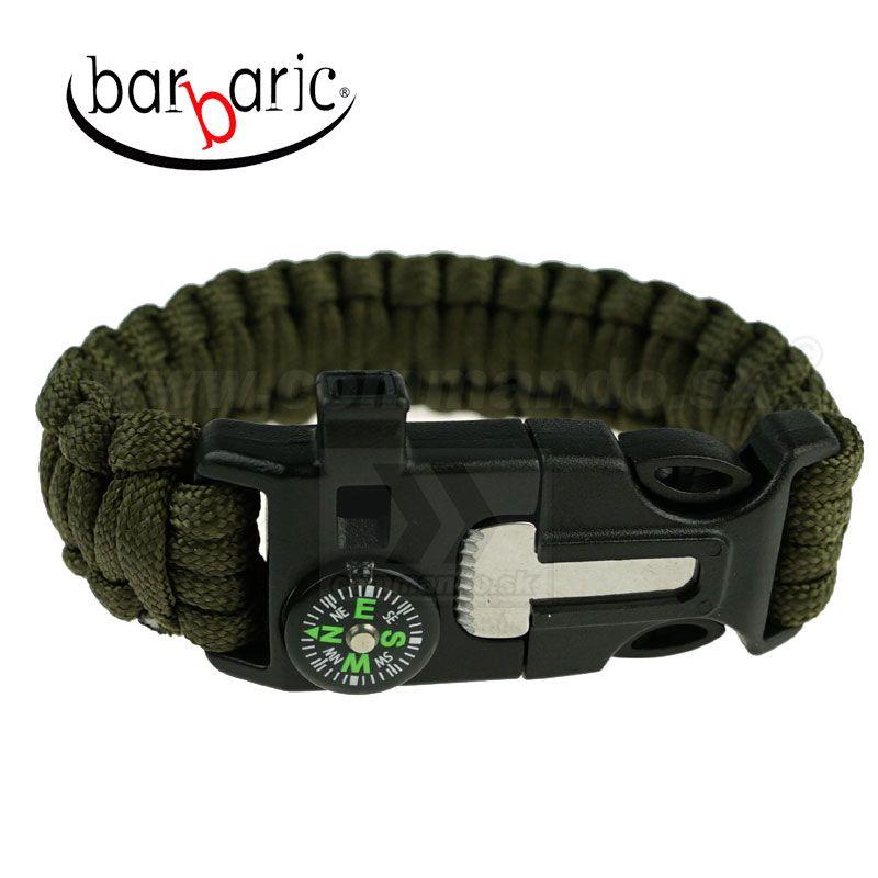 Barbaric Survival Green Paracord náramok s kresadlom a kompasom ... f9c4fcc2c8e