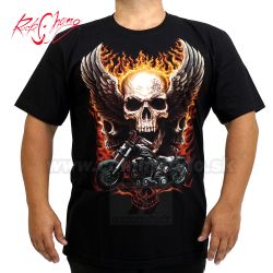 Tričko Skull Motorcycles Wings Rock Chang 4418 T-Shirt