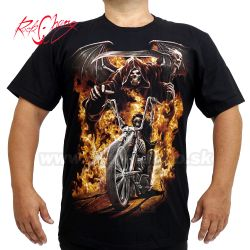 Tričko Flame Skull Motorcycles Rock Chang 4443 T-Shirt