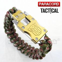 Survival Paracord Emergency multi náramok s nožom woodland