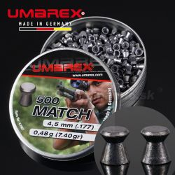 Diabolky Umarex Match Pro 500ks 4,5mm Flat Pellets, Airgun Diabolo