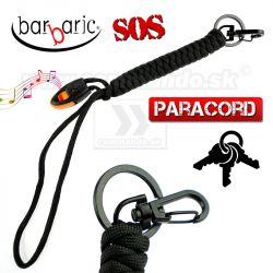 Paracord kľúčenka s SOS píšťalkou a karabínkou čierna Barbaric 03c72e19659