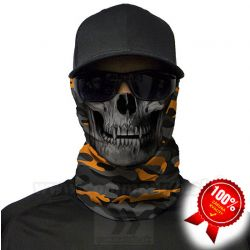 Orange & Grey Military Camo Skull Shield Multifunkčná šatka Bufka SA Company
