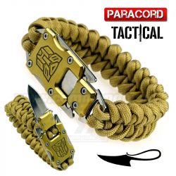 Survival Paracord Emergency multi náramok s nožom coyote