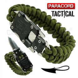 Survival Paracord Emergency multi náramok s nožom olive green