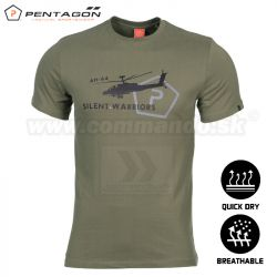 Pentagon Tričko Silent Warriors Olive