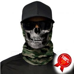 Green Military Camo Skull Face Shield Multifunkčná šatka Bufka SA Fishing
