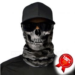 Grey Military Camo Skull Face Shield Multifunkčná šatka Bufka SA Fishing