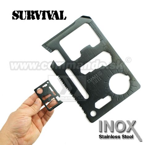Karta na prežitie BLACK 11v1 Survival Card Stainless Steel